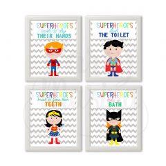 Printable Superhero Bathroom Rules Girl & Boy Mixed Wall Art Set of 4 | E372