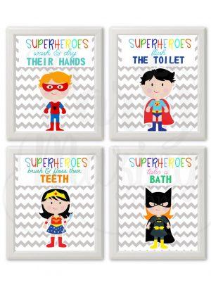 Superhero Bathroom Rules Girl & Boy Printable Wall Art Set of 4 | E372