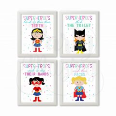 Printable Superhero Girl Bathroom Rules Wall Art Set of 4 | E304