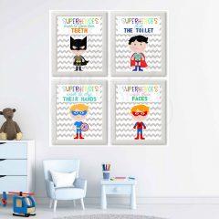Printable Superhero Kids Bathroom Rules Wall Decor Art for Boys and superhero lovers | E039