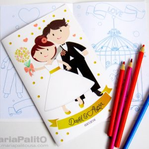 Printable Wedding Coloring Books, Children's Activity Booklet , Personalized Party Favors, Bride Groom Coloring Book | E404