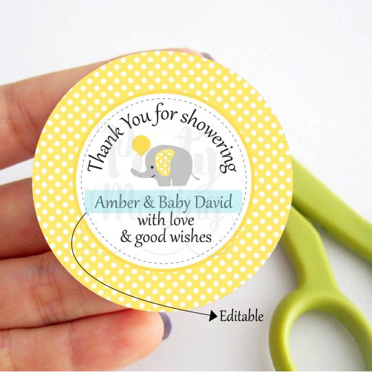 Printable Yellow and Grey Elephant Tag for Baby Shower | E262