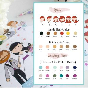 Wedding Couple Illustration, Custom Wedding Day Couple Cartoon Style or Aniversary Gift | E198
