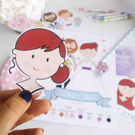 Wedding Couple Illustration, Custom Wedding Day Couple Cartoon Style or Aniversary Gift | E198