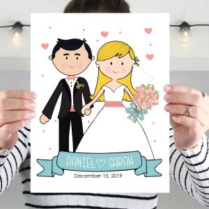 Wedding Day Portrait, Couple Illustration, Cartoon Style or Anniversary Gift | Mix and Match | E400