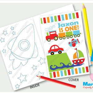 Transportation Coloring Books | Printable Personalized Cars and Trains Birthday Party Favors | Boy Party Activity Booklet | E426