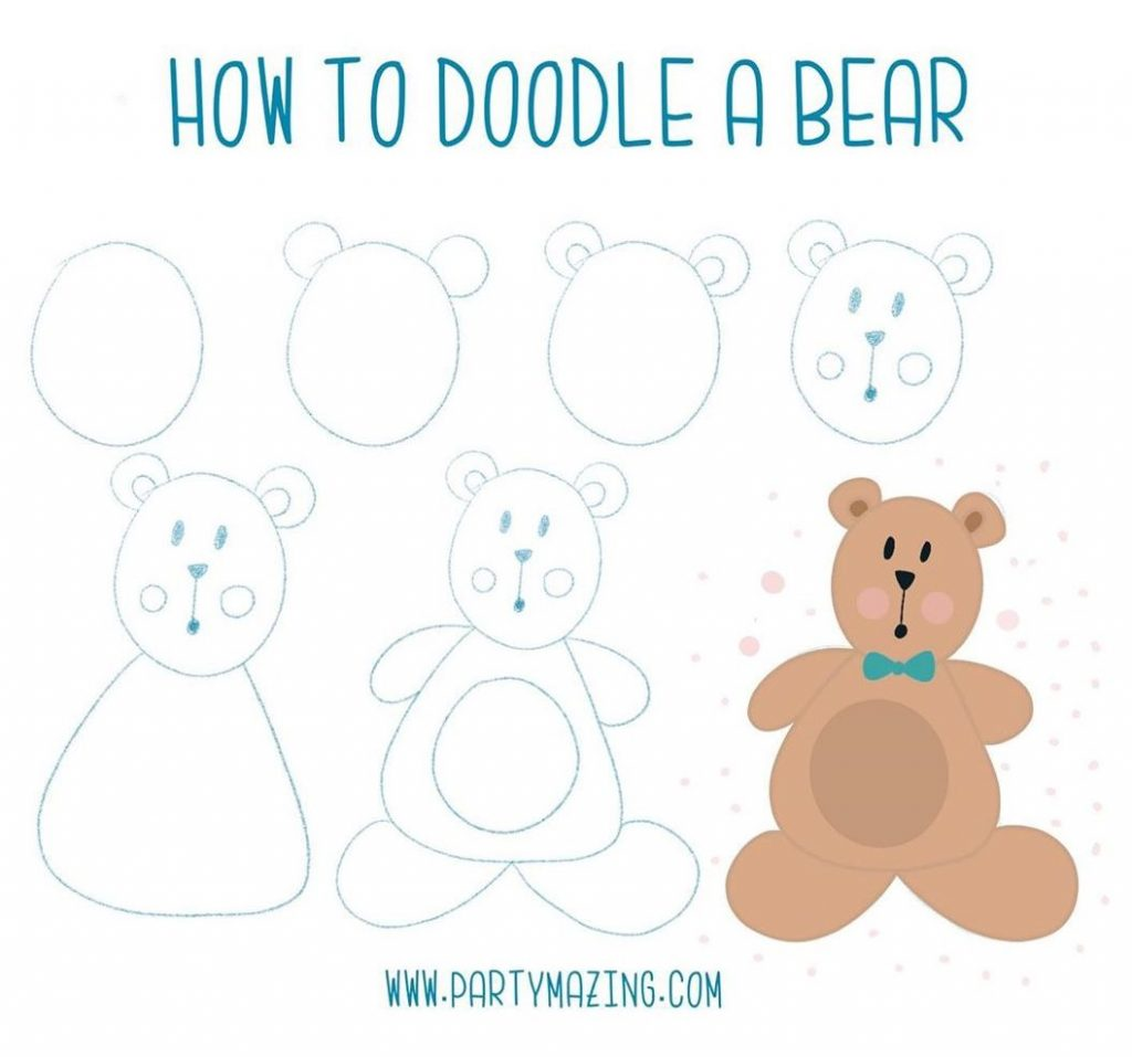 Want to learn how to doodle a cute bear? +17 DOODLE ART IDEAS FOR KIDS AND BULLET JOURNAL - Learn how to create basic doodles for your kids or for your planner. Enjoy!