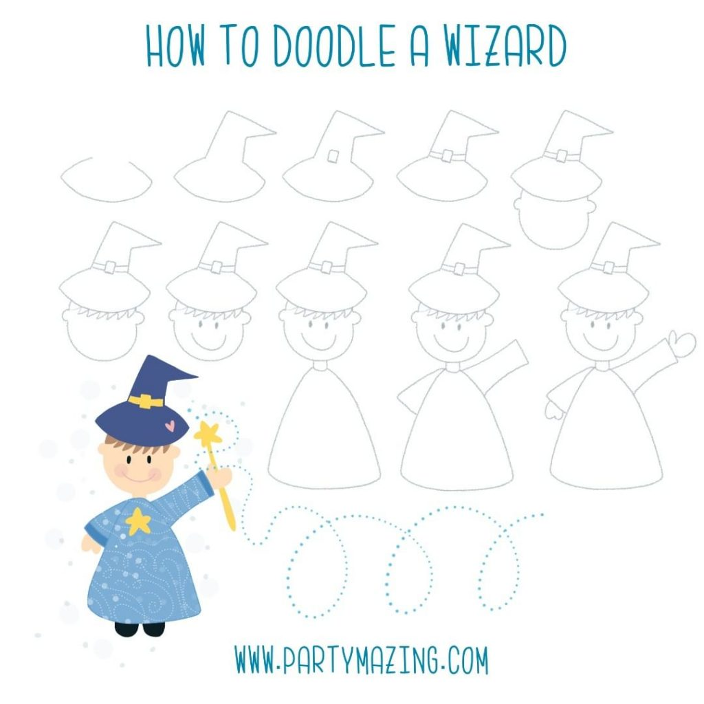Want to learn how to doodle a wizard? +17 DOODLE ART IDEAS FOR KIDS AND BULLET JOURNAL - Learn how to create basic doodles for your kids or for your planner. Enjoy!