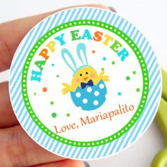 Blue Cute Easter Tags | Editable Printable Favor Tag | Egg Hunt label for School Kids or Easter Party | E447