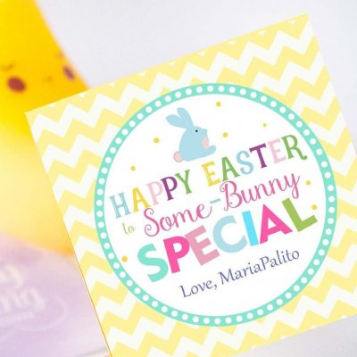 Cute Easter Some-Bunny Special Printable Tag Editable Modern Happy Easter Printable with Yellow chevrone pattern | HOEA1 | E137