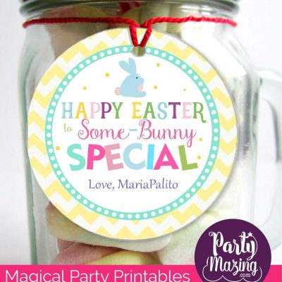 Cute Easter Some-Bunny Special Printable Tag Editable Modern Happy Easter Printable with Yellow chevrone pattern   HOEA1   E137