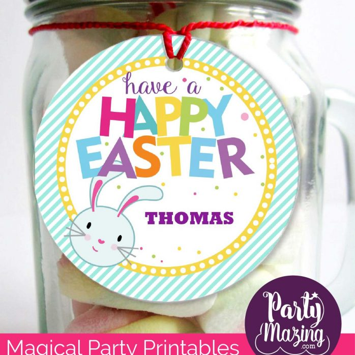 Cute Editable Happy Easter Bunny Tags for Boys and Girls | E128