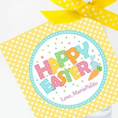 Cute Happy Easter Tag    Editable Printable Party Favor Label Sticker   Round or Square Tag Topper  Instant Download   HOEA1   E136
