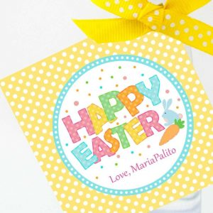 Cute Happy Easter Tag |  Editable Printable Party Favor Label Sticker | Round or Square Tag Topper| Instant Download | HOEA1 | E136