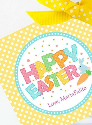 Bunny Happy Easter Printable Favor Tag E136