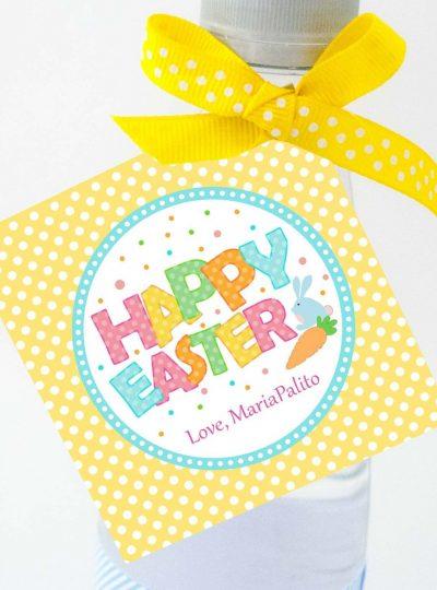 Bunny Happy Easter Printable Favor Tag E136