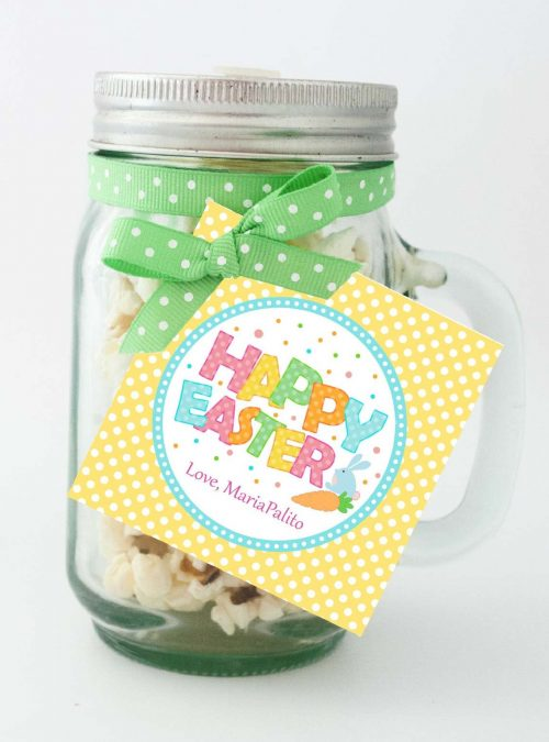 Cute Editable Happy Easter Tag   Printable Party Favor Label Sticker   Round or Square Tag Topper  Instant Download   HOEA1   E136