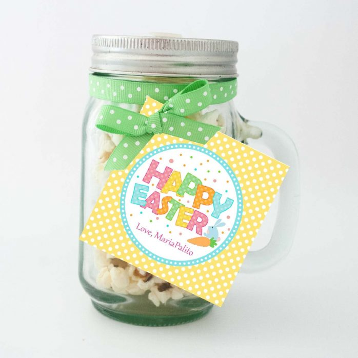 Cute Editable Happy Easter Tag | Printable Party Favor Label Sticker | Round or Square Tag Topper| Instant Download | HOEA1 | E136