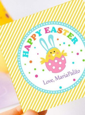 Happy Easter Printable Gift Tag | Editable Printable Sticker E148