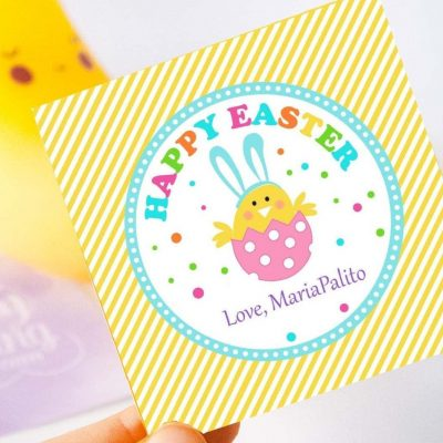Cute Easter Printable Tag | Editable Printable Tag | Bunny in an Eggg HOEA1 | E148 with Bunny in an Eggg HOEA1 | E148
