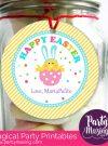 Cute Editable Modern Cute Happy Easter Printable Tag with Bunny in an Eggg HOEA1 | E148