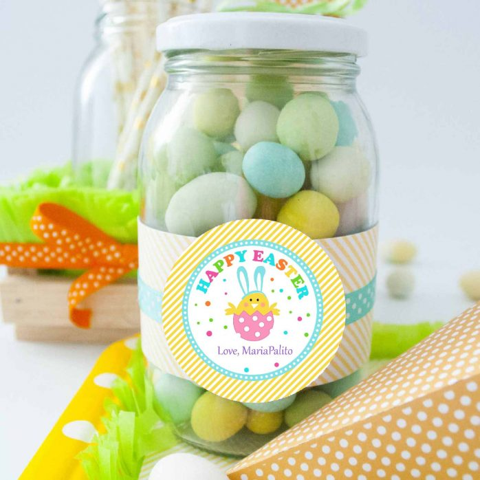 Cute Editable Modern Cute Happy Easter Printable Tag with Bunny in an Eggg HOEA1 | E148