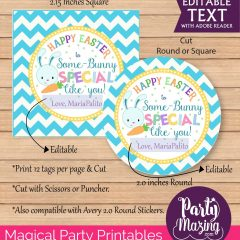 Cute Some-Bunny Special Boy Easter Gift Tag |  Editable Favor Tag| Easter Labels | E135