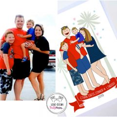 Cute Family Portrait | Hand-Drawn Illustration Family Vacation Portrait Print | Digital Portrait Cartoon Style | E443