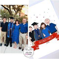Cute Graduation Portrait Illustration Gift, hand-drawn Graduation Family Gift Illustration Portrait Cartoon Style | E441