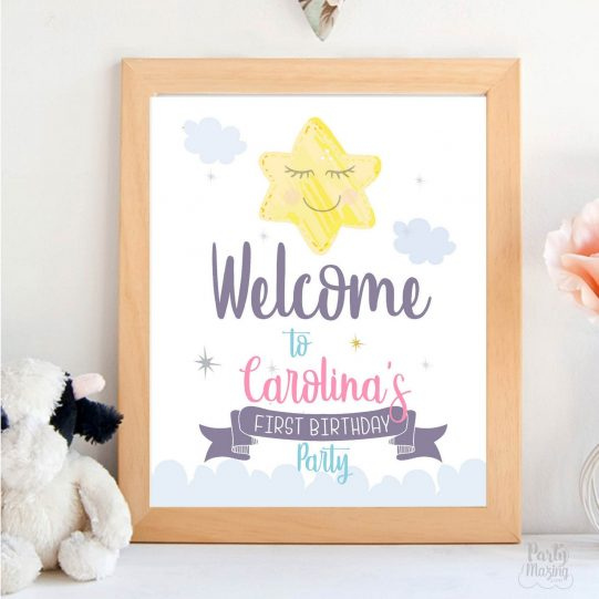 Cute Little Star Welcome Sign | Welcome Birthday Sign | Moon and Star Hand Drawn Printable Print |  Birthday Sign| E422