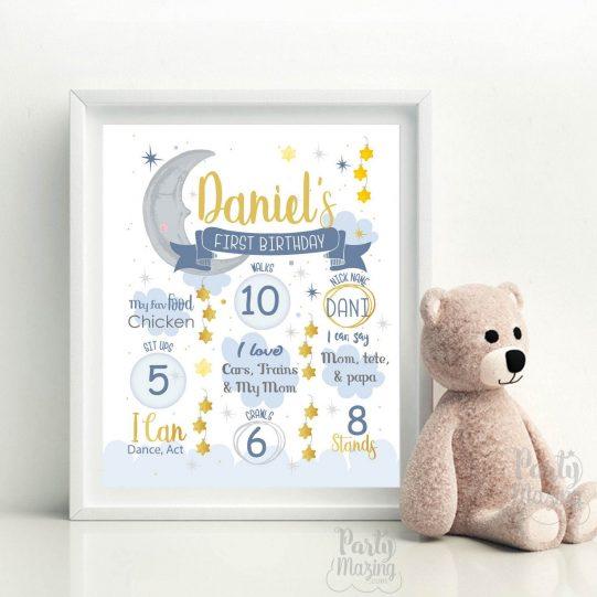 Cute Moon and Stars Birthday Sign | Chalkboard Little Star Hand Drawn Printable Print |  Birthday Milestone Sign| E420