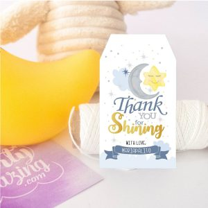 Cute Personalized Moon Thank You Tag, Little Star Favor Tags| Thank You Tag | Twinkle Twinkle Little Star Favor Tag | Gift Tag | E410