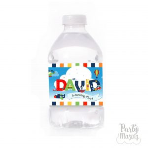 Personalized Transportation Watter Bottle Labels | Printable Birthday Labels| E411