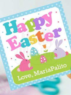 Cute Printable Bunny Happy Easter Party Favor Tag   Editable Printable Party Favor Label Sticker   E160