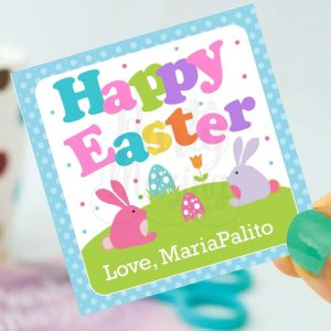 Cute Printable Bunny Happy Easter Party Favor Tag | Editable Printable Party Favor Label Sticker | E160