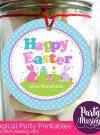 Cute Printable Bunny Happy Easter Party Favor Tag | E160