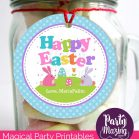 Cute Printable Bunny Happy Easter Party Favor Tag   E160