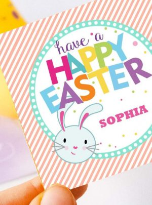 Cute Bunny Easter Tag | Happy Easter | Editable Cute Bunny for Kids Labels | Party Favor Sticker | Round or Square HOEA1 | E134