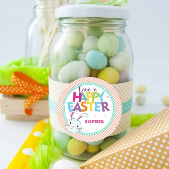 Editable Happy Easter Tag | Printable Cute Bunny for Kids Labels | Party Favor Sticker | Round or Square | Instant Download | HOEA1 | E134