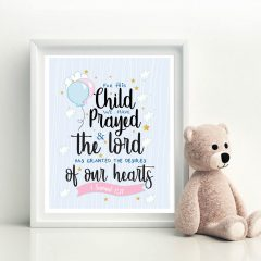 For this child we have prayed sign |1 Samuel 1:27 | Handrawn Printable Cute Kids Scripture Nursery Sign | E442