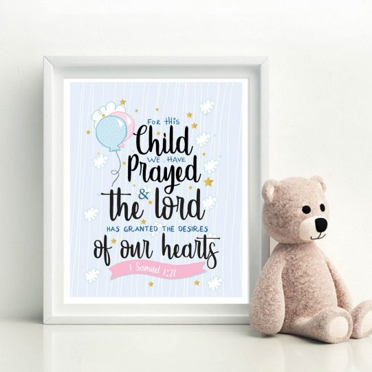 For this child we have prayed sign  1 Samuel 1:27   Handrawn Printable Cute Kids Scripture Wall Decor Print   Nursery Quote Sign   E442