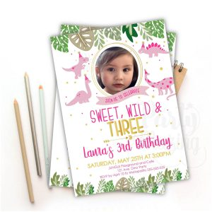 Girl Dinosaur Invitation Pink | Hand-drawn Printable Jungle Invite with Picture | Tropical party | Digital Invitation | E445