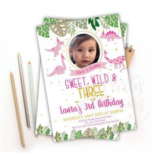 Girl Dinosaur Invitation Pink | Printable Jungle Invite with Picture | E445