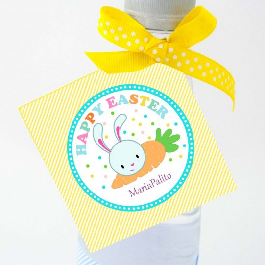 Happy Easter Tag | Editable Party Favor| Printable Cute Easter Bunny Tag| Yellow Kid Gift Tag for Egg hunt or Classroom Gifts |HOEA1 | E129