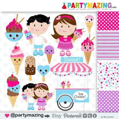 Kawaii Ice cream Kids Clipart Set | Cute Kids Ice cream Shop | Digital Digital Planner Graphic Set | Transparent Background | E459