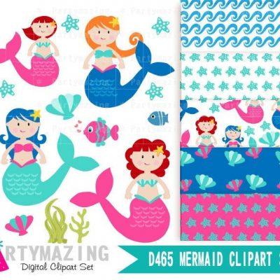 Kawaii Mermaid Clipart Set | Cute Under the Sea Set | Digital Image Set | Digital Planner Graphic Set with Transparent Background | E460