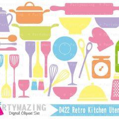 Kitchen Utensils Clipart Set   Pastel Colors Digital Image Set   Digital Planner Graphic Set with Transparent Background   E457