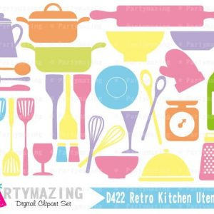 Kitchen Utensils Clipart Set | Pastel Colors Digital Image Set | Digital Planner Graphic Set with Transparent Background | E457