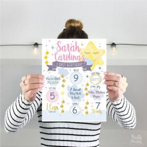 Little Star Birthday Sign | Chalkboard Twinkle Twinkle Little Star | Hand Drawn Printable Print | Little Star Birthday Milestone Sign| E421