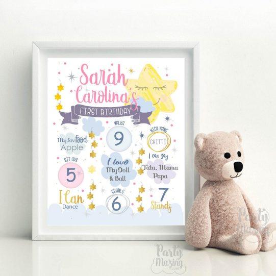 Little Star Birthday Sign | Chalkboard Twinkle Twinkle Little Star | Hand Drawn Printable Print | Little Star Birthday Milestone Sign| E421